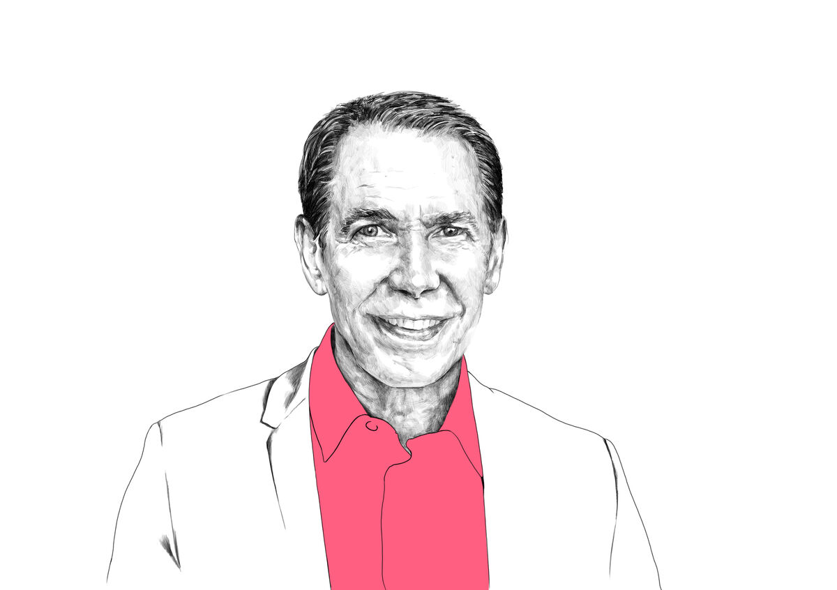 Illustration of Jeff Koons by Rebecca Strickson for Artsy, based on photograph by Angela Pham/BFA.com.