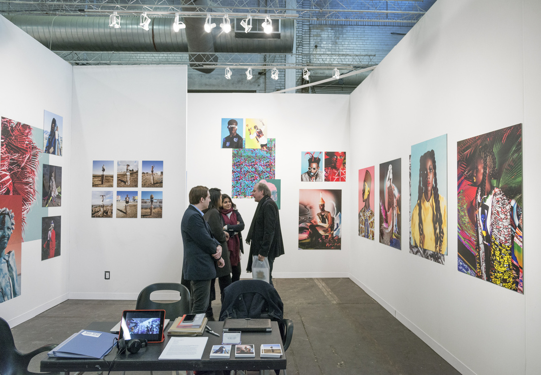 Installation view of works by Namsa Leuba at Echo Art's booth at The Armory Show, 2016. Photo by Adam Reich for Artsy.