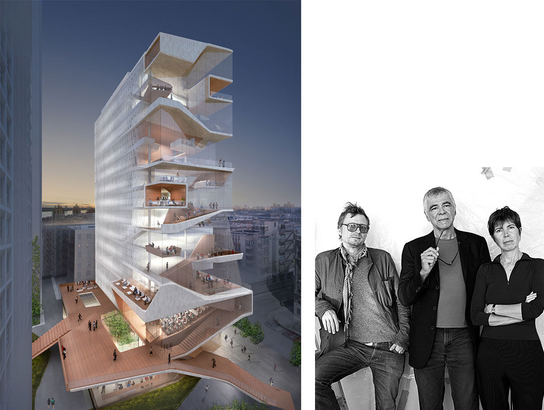 Diller Scofidio + Renfrom, Columbia University Medical Center Tower Rendering. Portrait of Charles Renfro, Ricardo Scofidio, Elizabeth Diller. Photo by Abelardo Morrell. Courtesy of Diller Scofidio + Renfro.