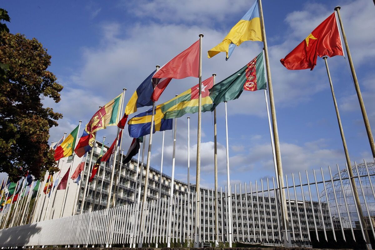 Flags from several countries float in front of the headquarters of the United Nations Educational, Scientific, and Cultural Organiztion (UNESCO). Photo by Chesnot/Getty Images.