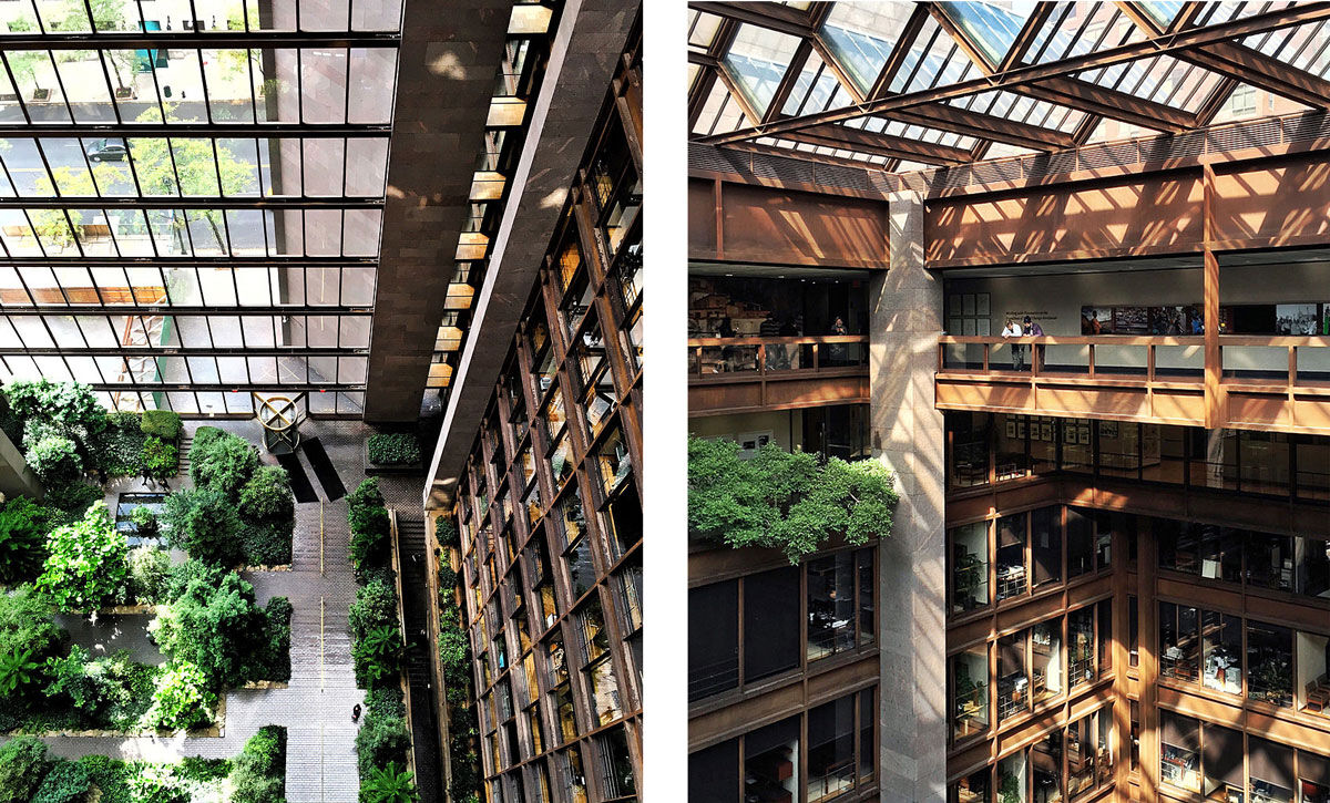 Interior views of the Ford Foundation. Photos by Striped Architect, via Wikimedia Commons.