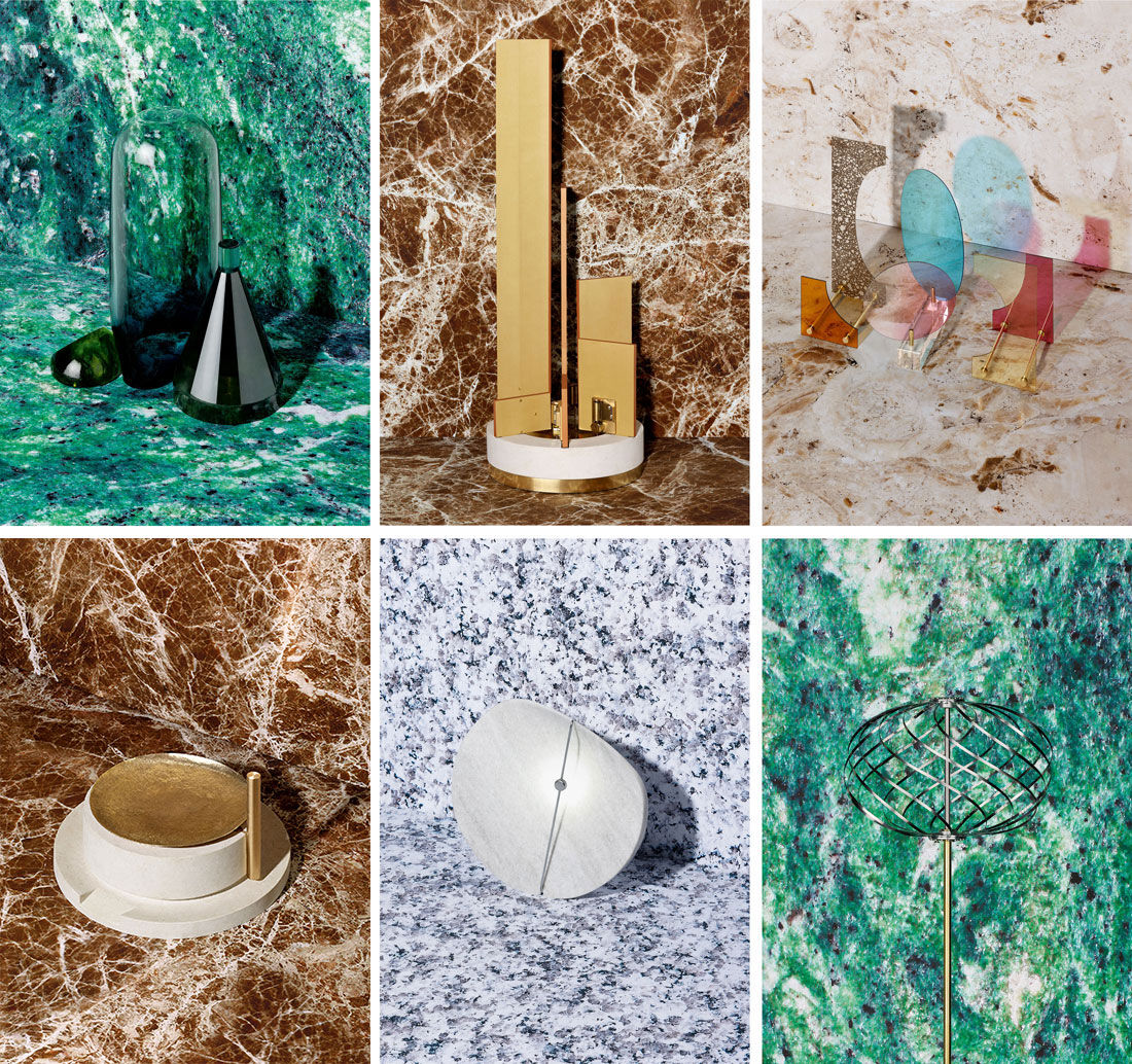 Clockwise, from top left: Natura Morta, ECAL/Nicolas Lalande and glassblower Matteo Gonet; Decrescendo, ECAL/Lorena Sauras and instrument-maker Jeanmichel Capt; L.O.D. – Light Dependent Object, ECAL/Kaja Solgaard Dahl and glassmaker Roland Béguin; Explosion Printanière, ECAL/Jean-Baptiste Colleuille and automaton-maker François Junod; Eclipse, ECAL/Annie Tung and sculptor Vincent Du Bois; La Macina, ECAL/Stefano Panterotto and stone sculptor Luca Bellei. Photos by Jonas Marguet.