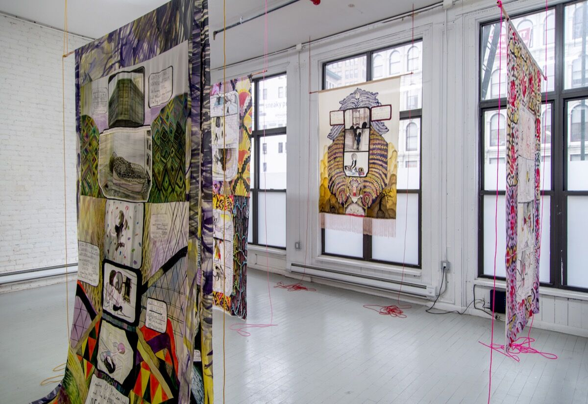 Installation view of works by Emma Talbot at Arcadia Missa, New York. Courtest of Arcadia Missa.