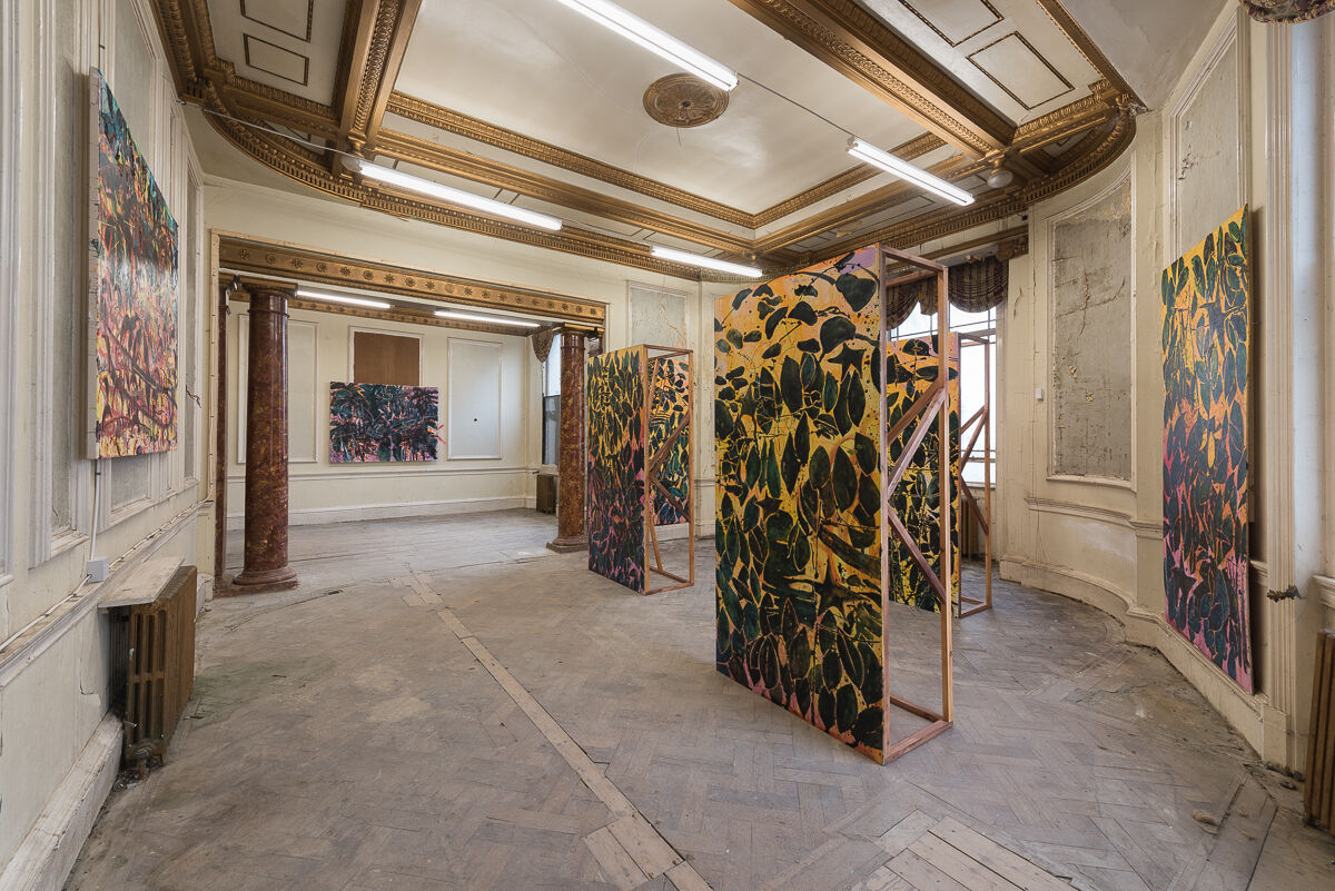 Installation view of works by Nicholas Johnson. Photo courtesy of Slate Projects.