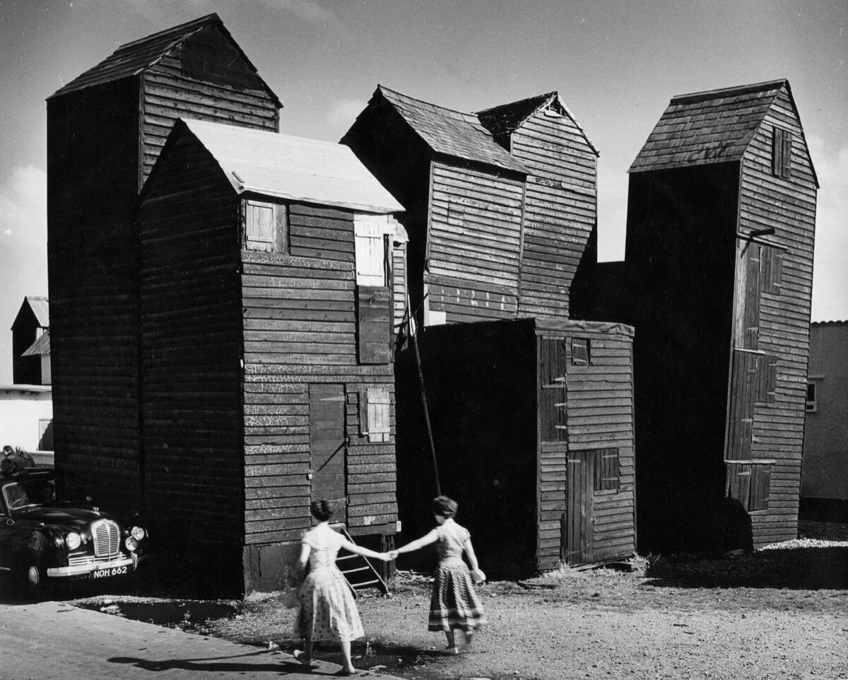 'Skyscraper' fishermen's sheds, the Stade, Hastings, Architectural Press Archive / RIBA Collections.