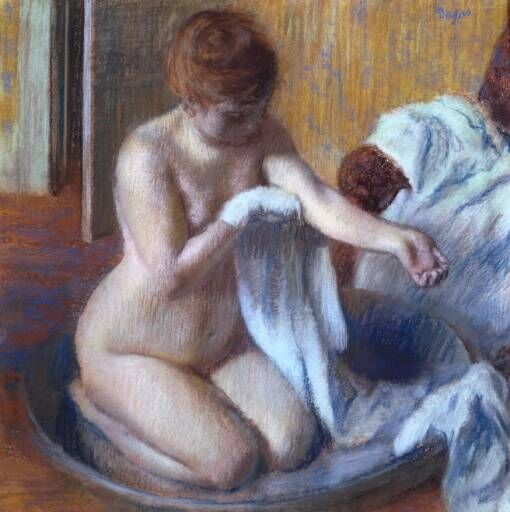 Edgar Degas, Woman in a Tub, c. 1883. Photo via Wikimedia Commons.