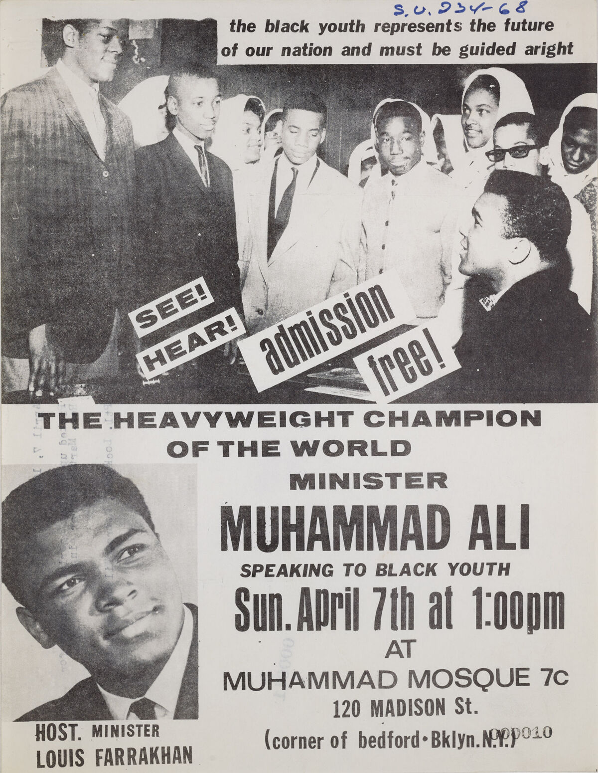 Muhammad Ali Speaks at Muhammad Mosque 7c, April 7, 1968. Courtesy of the New York City Department of Records & Information Service.