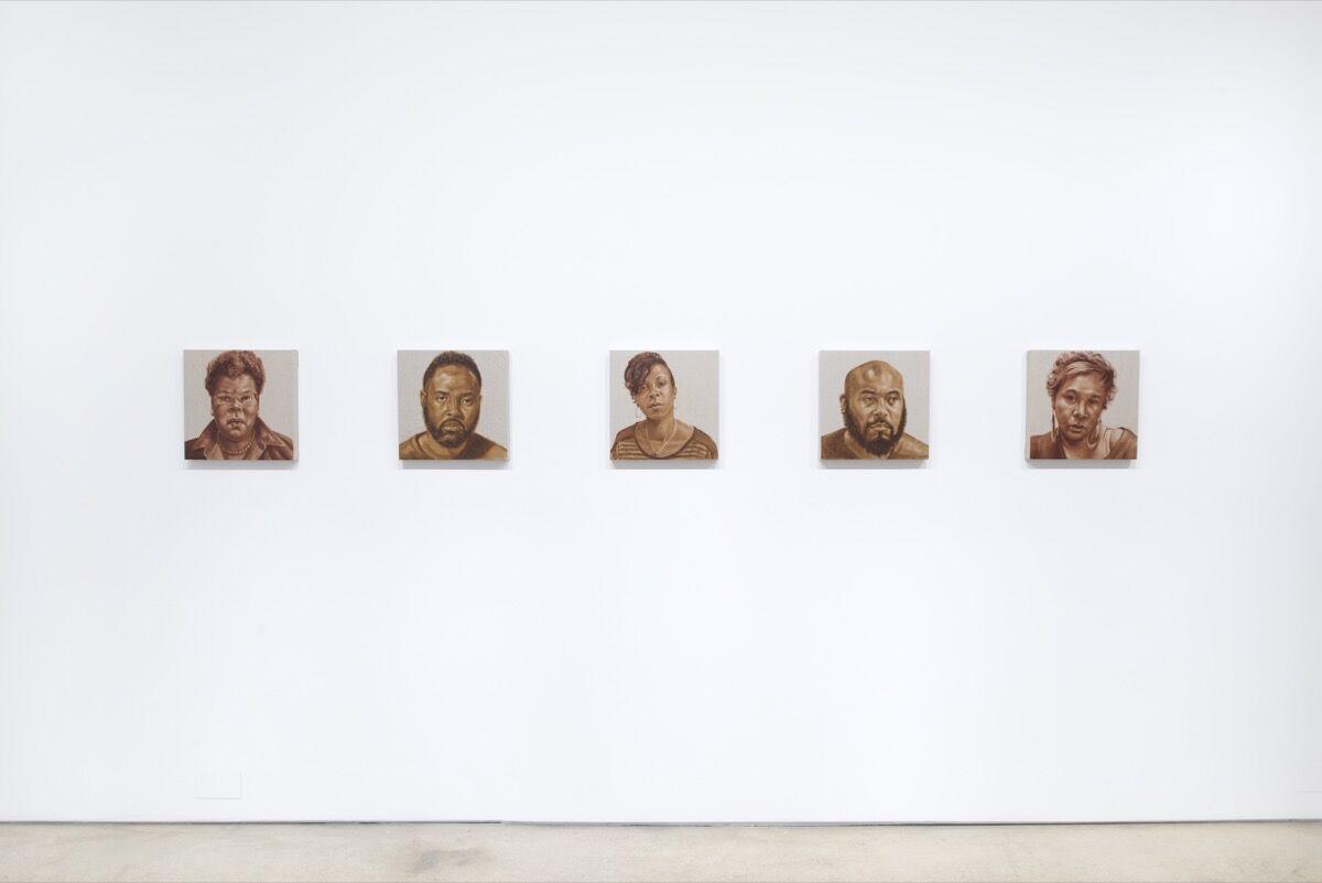 "Installation view of ""Titus Kaphar: Shifting Skies"" at Jack Shainman Gallery, New York. Photo courtesy of Jack Shainman Gallery, New York."