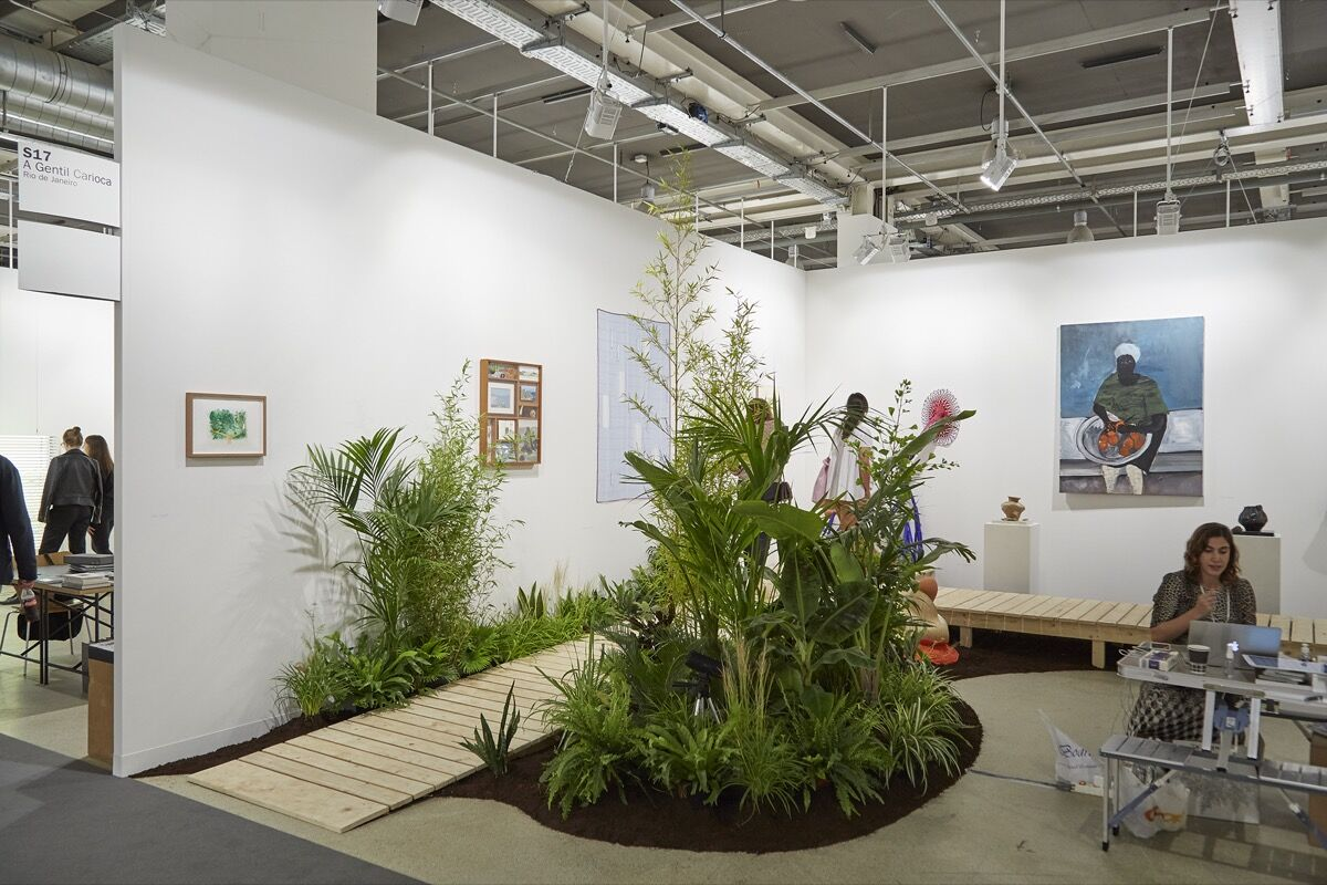 Installation view of A Gentil Carioca's booth at Art Basel, 2017. Photo by Benjamin Westoby for Artsy.