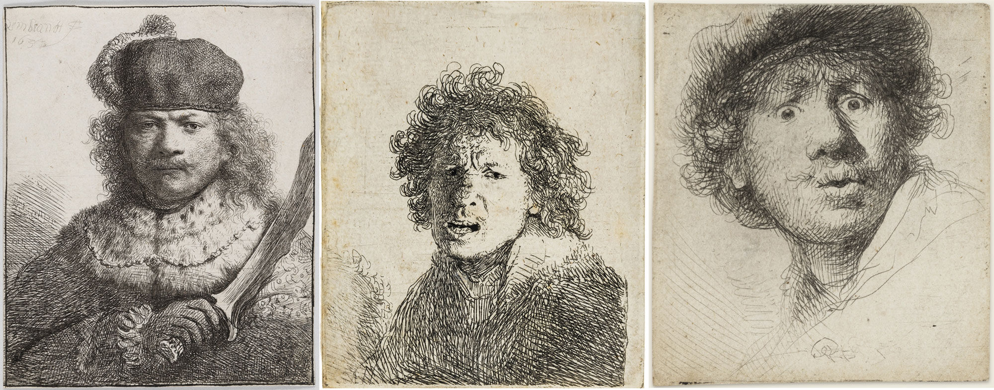 From left to right: Rembrandt van Rijn, Self-Portrait with Raised Sabre, 1634; Self-Portrait, Open-Mouthed, 1630; Self-portrait with Beret, Wide-Eyed, 1630. Courtesy of the Rijksmuseum.