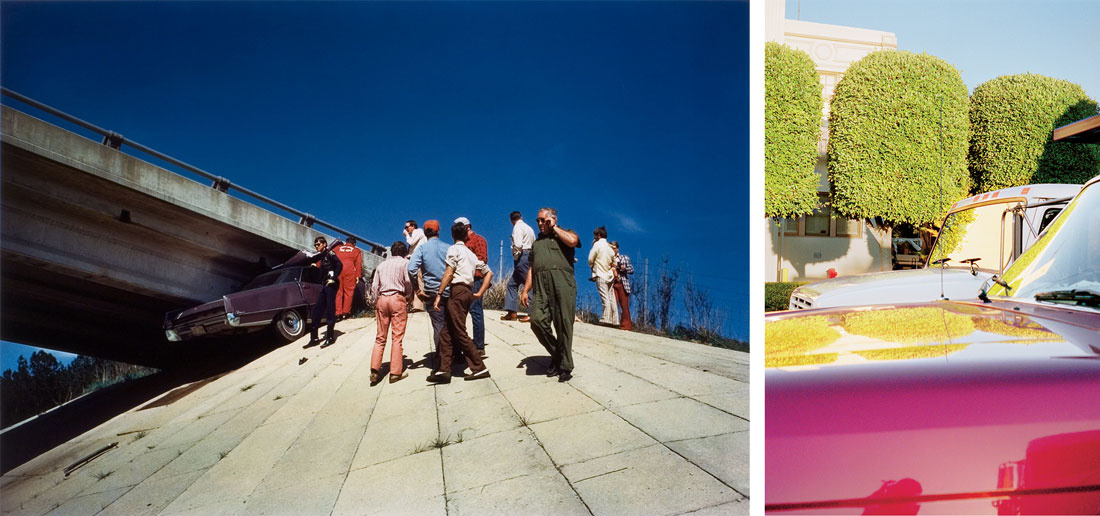 Left: William Eggleston, UNTITLED (CAR WRECK) [FROM THE SEVENTIES: VOLUME TWO] (Circa 1970). Right: William Eggleston, UNTITLED (TOPIARY TREES, HOLLYWOOD) (1999 - 2000). Courtesy of Cheim & Read.