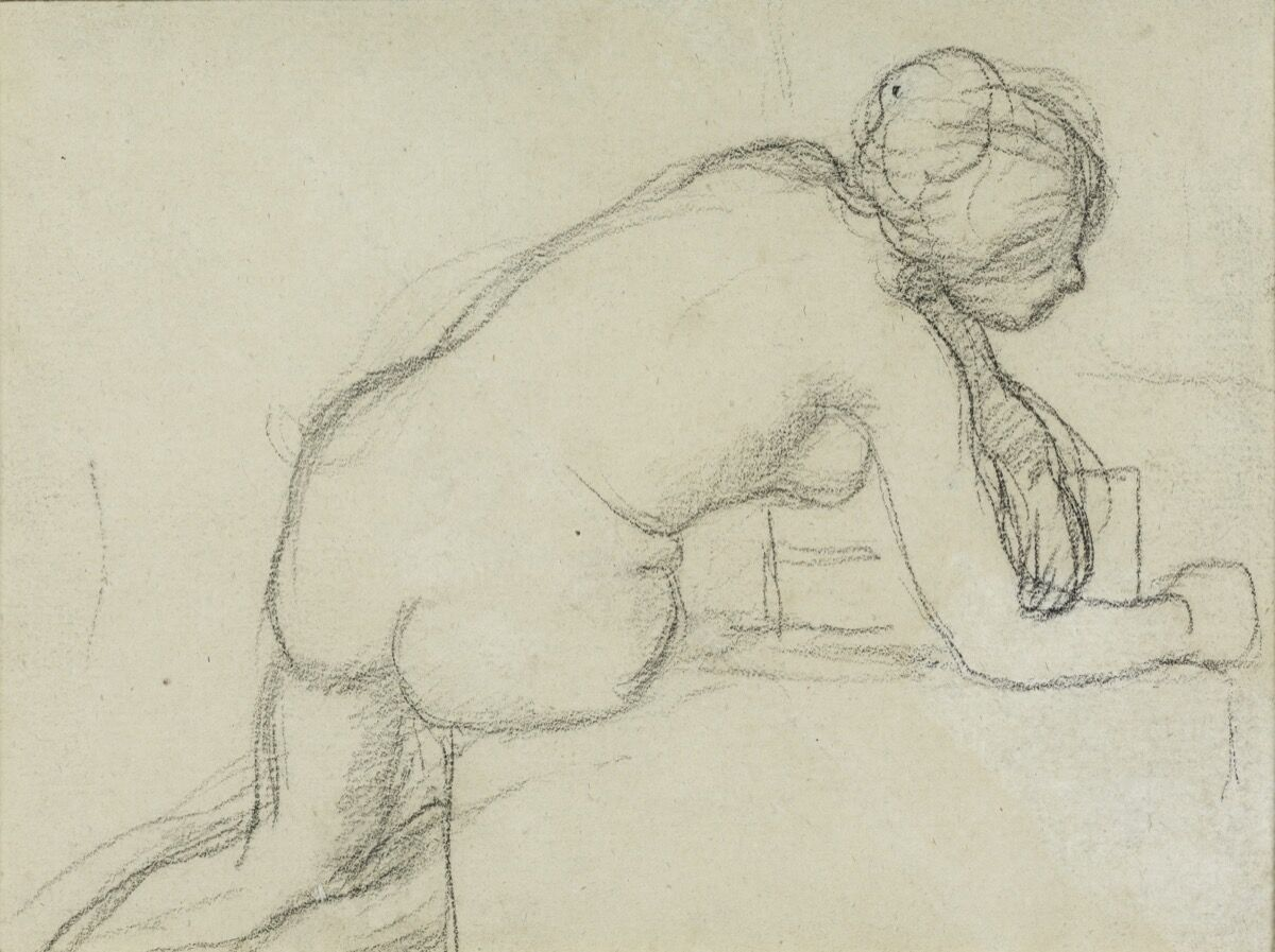 Pierre Puvis de Chavannes, Back View of a Female Nude Leaning on Her Right Hip and Forearm, n.d. Courtesy of The Phillips Collection.