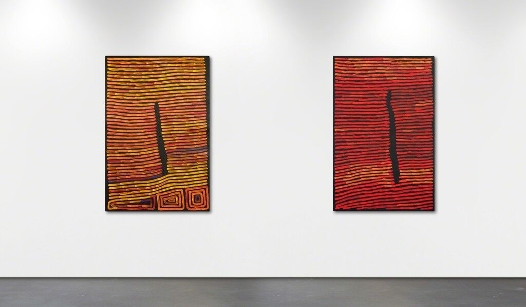 "Installation view of ""40 years of Ronnie Tjampitjinpa,"" Wentworth Galleries, Sydney. Courtesy Wentworth Galleries and the artist."
