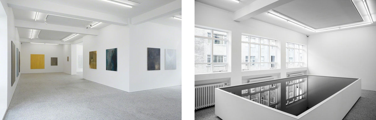 Left: Installation view of works by Hulda Stefánsdóttir at BERG Contemporary; Right: Installation view of work by Finnbogi Petursson at BERG Contemporary. Photos courtesy of the gallery.