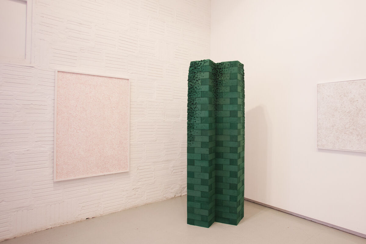 Work by Achraf Touloub and Navid Nuur at Plan B, Independent 2015. Photo by Nick Simmons for Artsy
