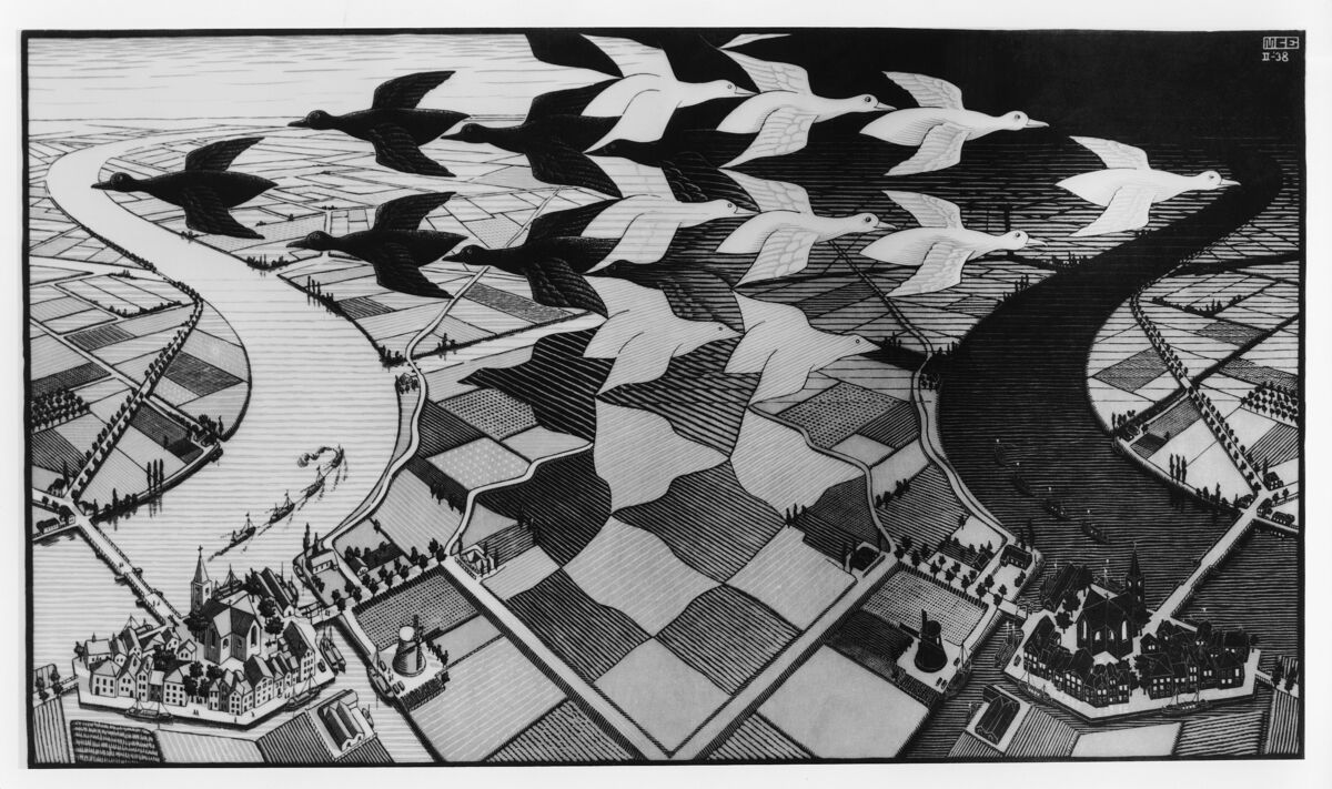 M.C. Escher, Day and Night. ©2017 The M.C. Escher Company, The Netherlands.
