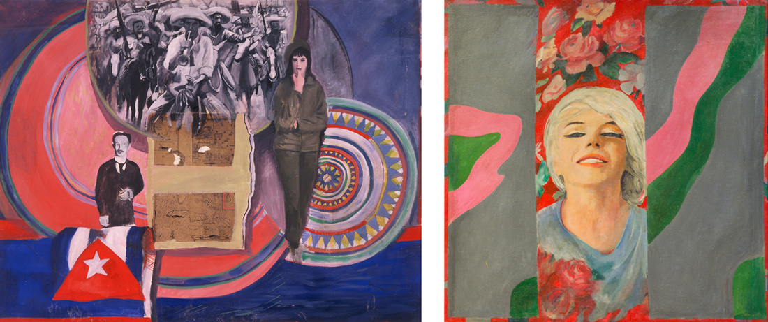 Left: Pauline Boty, Cuba Si, 1963. © private collection. Courtesy of Kunstmuseum Wolfsburg; Right:Pauline Boty, Colour Her Gone, 1962. Wolverhampton Arts & Museums © Wolverhampton Art Gallery. Courtesy of Kunstmuseum Wolfsburg.