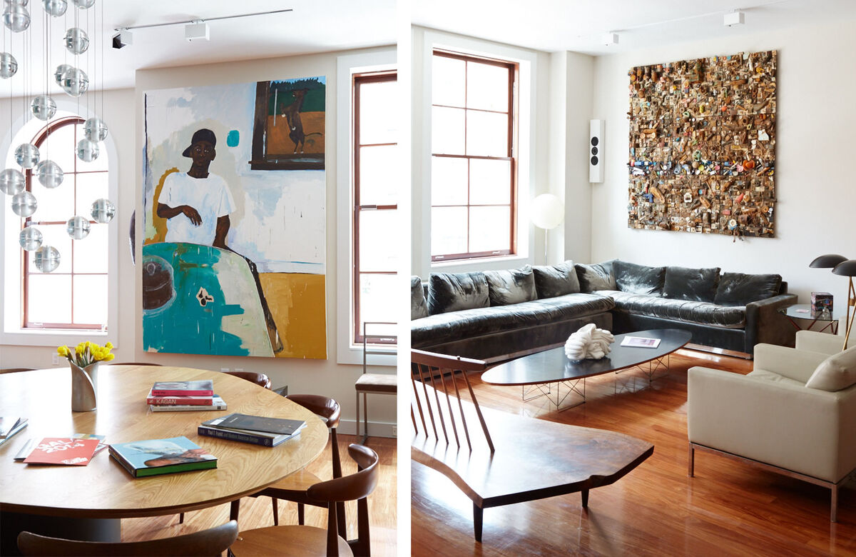 Artwork by Henry Taylor, dining table and chairs by Arthur Casas | Artwork by Leonard Drew, bench by George Nakashima, coffee table by Charles and Ray Eames, sofa by Milo Baughman. Photos by Emily Johnston for Artsy.