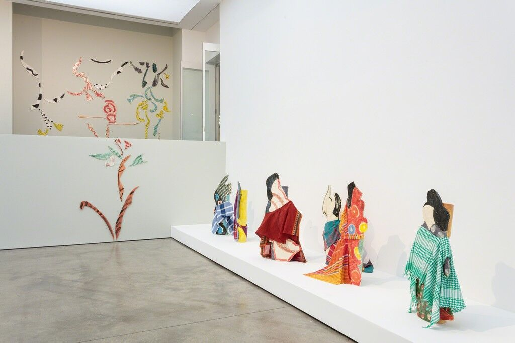 "Installation view of ""Betty Woodman: Theatre of the Domestic"" at ICA, London. Photo: Mark Blower, courtesy of ICA London."