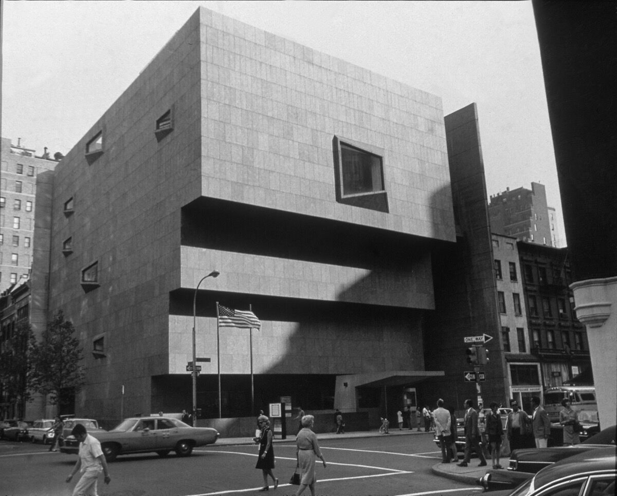 The Whitney Museum of American Art on Madison Avenue, New York City, which opened in 1966. Photo by Arthur SwogerArchive Photos/Getty Images.