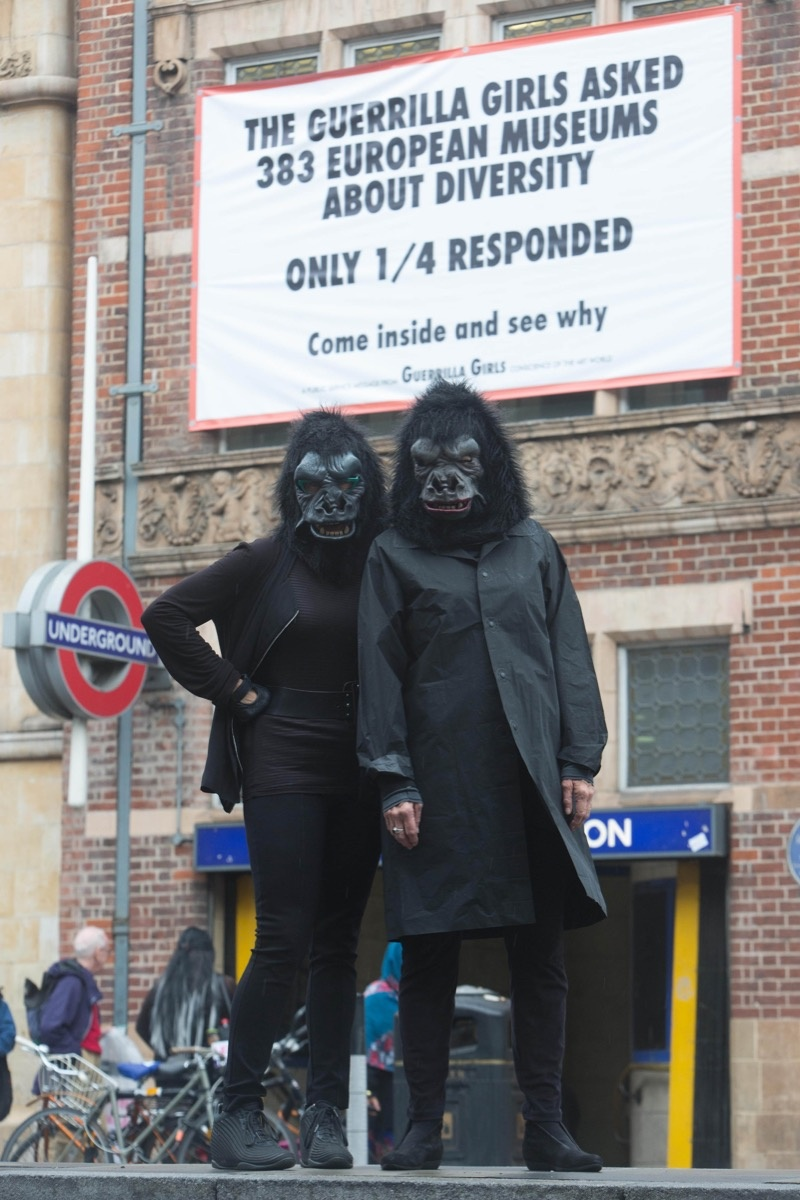 The Guerrilla Girls in front of Whitechapel Gallery. Photo: David Parry/PA Wire, courtesy of Whitechapel Gallery.