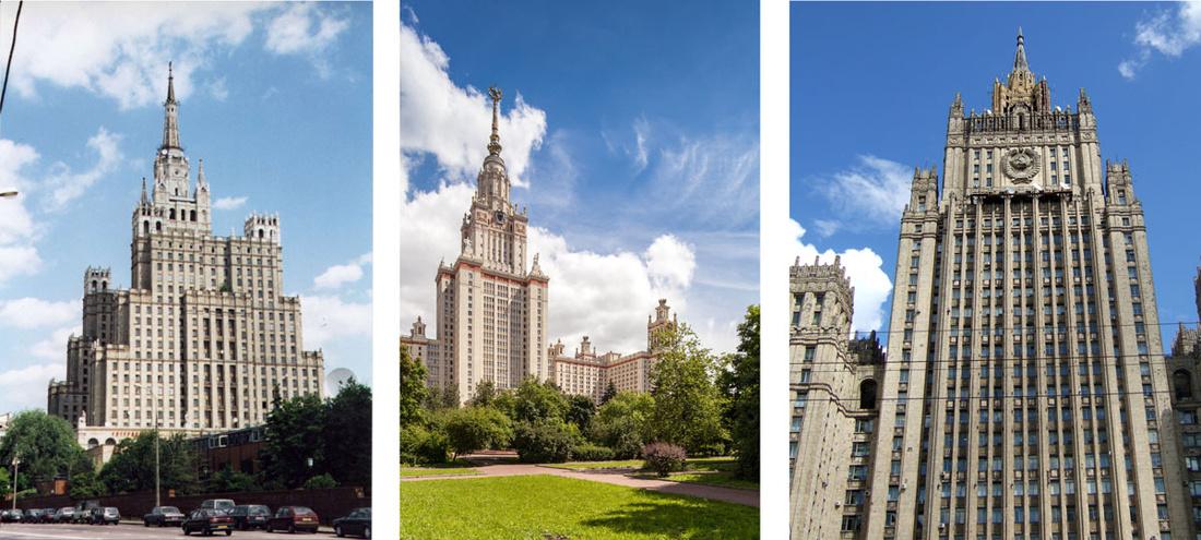 Left: Kudrinskaya Square Building. Photo byJamie Barras, via Flickr; Center: Moscow State University. Photo bySergey Norin, via Flickr; Right: Ministry of Foreign Affairs. Photo byGioconda Beekman, via Flickr.
