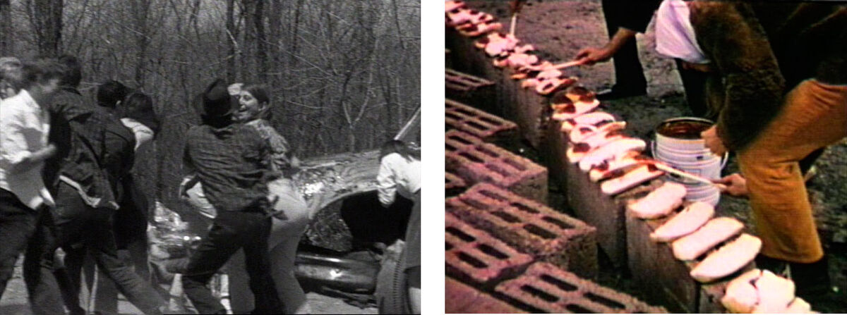 Left: Allan Kaprow,  Household (film still), 1964. Documentation of a Happening commissioned by Cornell University, Ithaca NY; Right: Allan Kaprow, Sweet Wall (film still), 1970. Documentation of a Happening, Galerie René Block, West Berlin. © Allan Kaprow Estate, courtesy of the Estate and Hauser & Wirth.