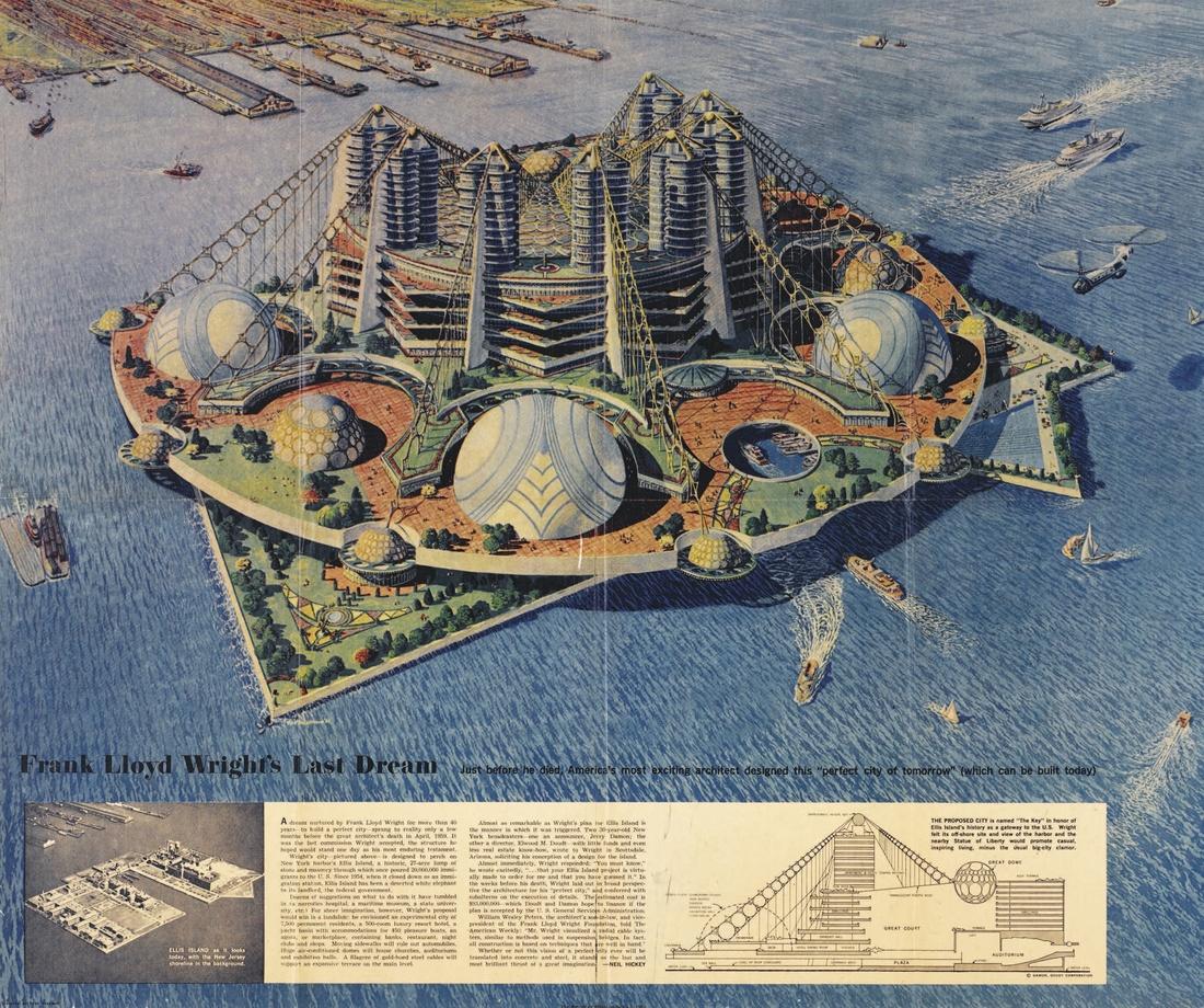 Frank Lloyd Wright, Key Project for Ellis Island, 1959. Courtesy of ARTBOOK | D.A.P.