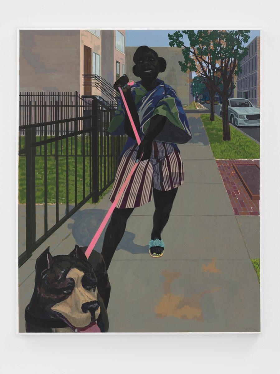 Kerry James Marshall, Untitled (Dog Walker), 2018. © Kerry James Marshall. Courtesy of the artist and David Zwirner.