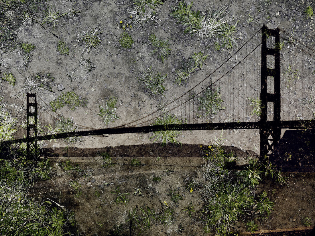 © ABELARDO MORELL,Tent Camera Image on Ground, View of the Golden Gate Bridge from Battery Yates,2012. Courtesy of Edwynn Houk Gallery, New York and Zurich.