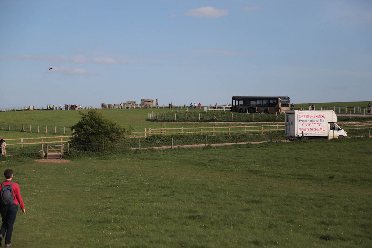 A truck passing the Stonehenge site advocates for opposing the tunnel project. Photo by Keith Murray, via Flickr.