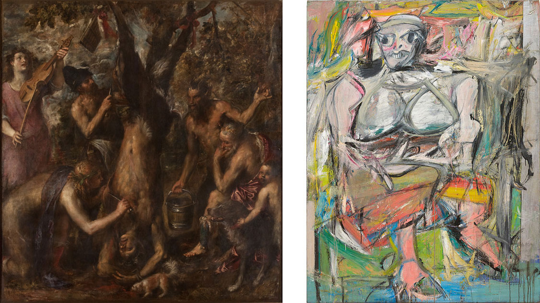 """Left: Titian, The Flaying of Marsyas, c. 1570s. Collection of Archdiocese Olomouc, Archiepiscopal Palace, Picture Gallery,Kromĕříž. Right: Willem de Kooning, Woman, I, 1950–52. Collection of the Museum of Modern Art, New York. Image © 2016 The Willem de Kooning Foundation / Artists Rights Society (ARS), New York. Images from the exhibition """"Unfinished,"""" courtesy of the Metropolitan Museum of Art."""