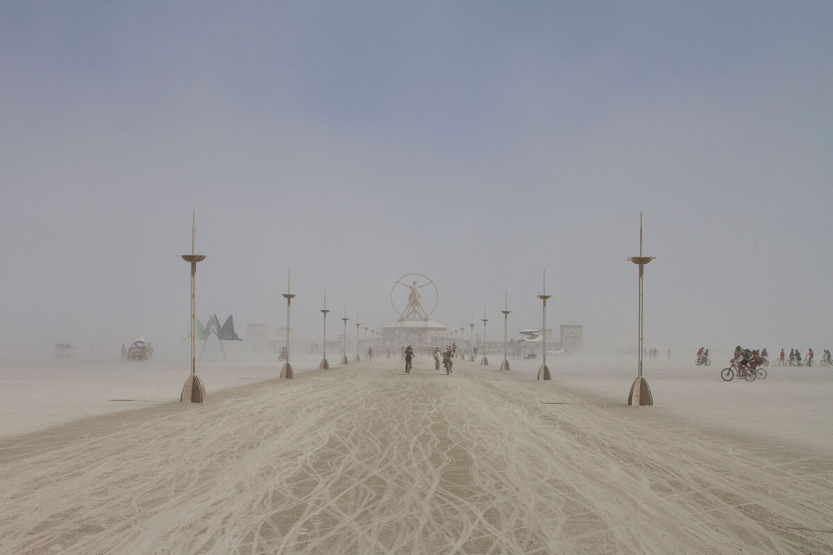 Inspired by Leonardo DaVinci's Vitruvian Man, this year's 80-foot-tall center point to the Burning Man event also housed a pavilion with interactive installations demonstrating various art forms from the Renaissance.