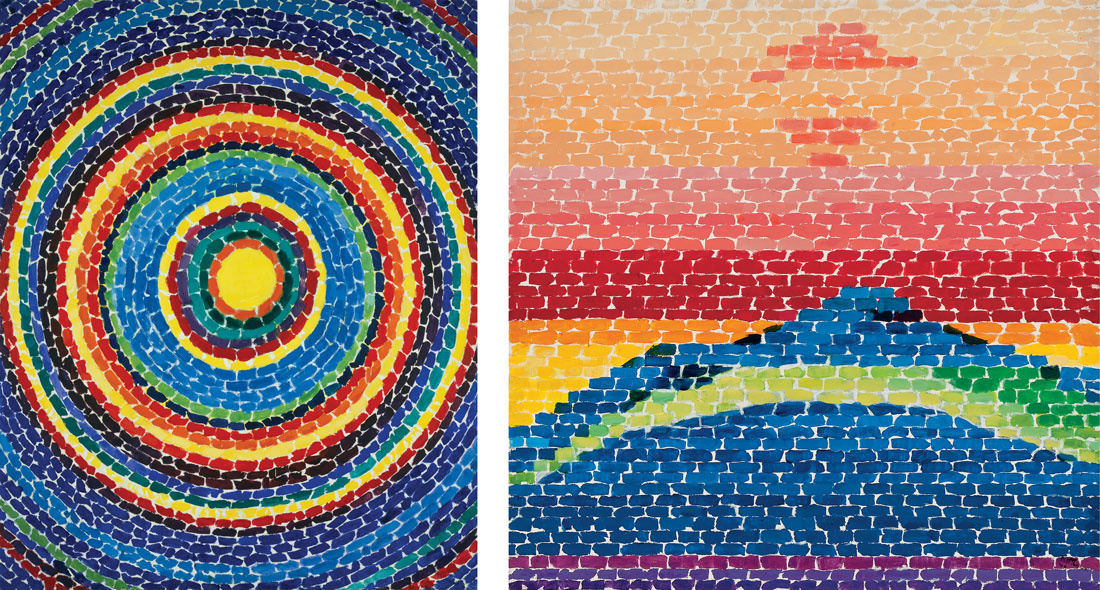 """Left: Alma Thomas, Splash Down Apollo 13, 1970. Right: Alma Thomas, Apollo 12 """"Splash Down,"""" 1970. Images courtesy of Michael Rosenfeld Gallery, New York,and the Frances Young Tang Museum."""