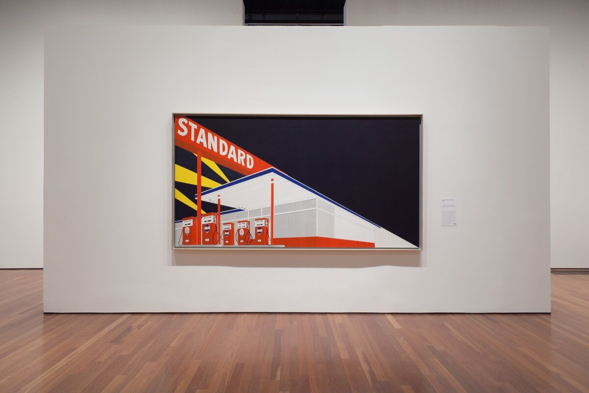 """Installation view of """"Ed Ruscha and the Great American West"""" at the de Young Museum, San Francisco, by Margo Moritz for Artsy."""