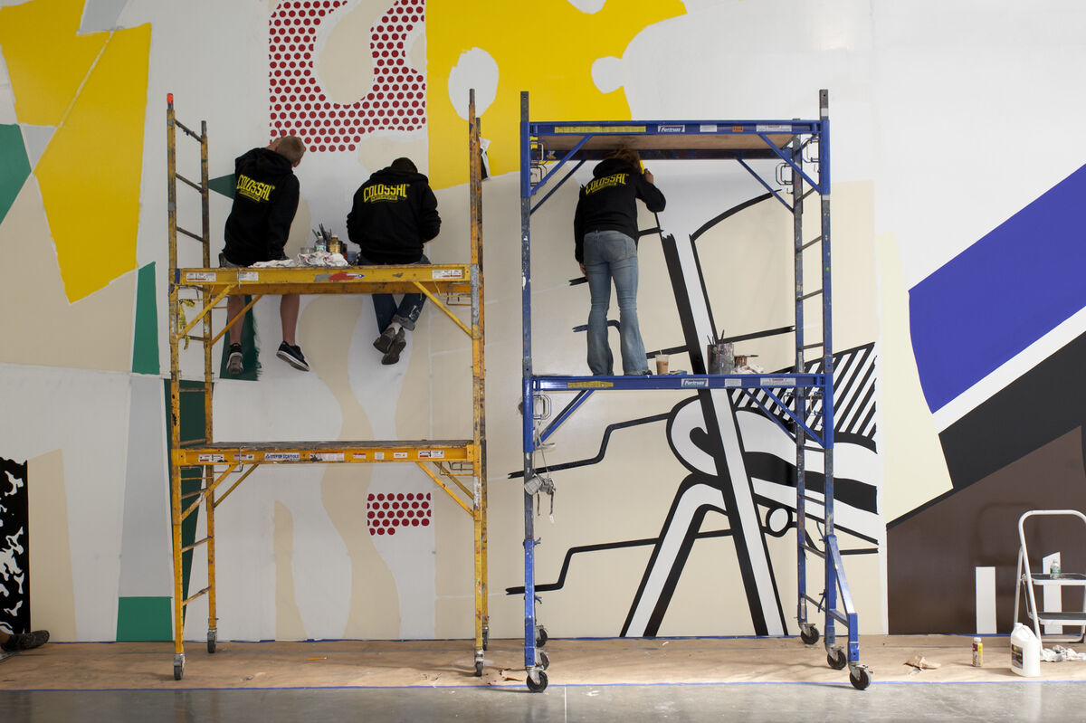 Painting of Greene Street Mural at Gagosian Gallery, 2015Artwork © Estate of Roy Lichtenstein. Photography by Philip Mauro. Courtesy Philip Mauro and Gagosian Gallery
