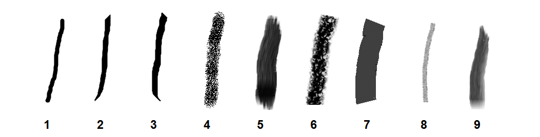Paint Brush types in Microsoft Paint in Windows 7, via Wikimedia Commons.