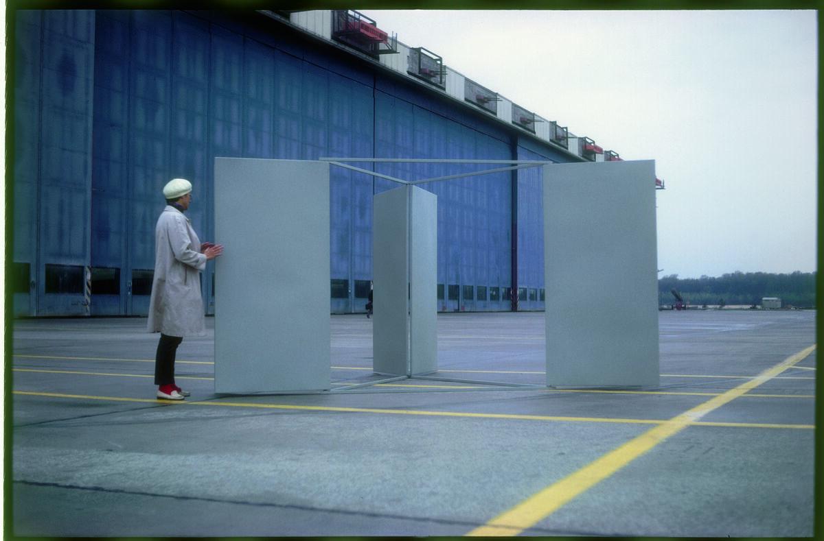 Installation view of Charlotte Posenenske, Large Revolving Vane, 1967, at Airport Frankfurt on Main, 1967–68. © Estate of Charlotte Posenenske. Photo by Axel Schneider, Frankfurt. Courtesy of the Estate of Charlotte Posenenske; Mehdi Chouakri, Berlin; and Peter Freeman, New York.