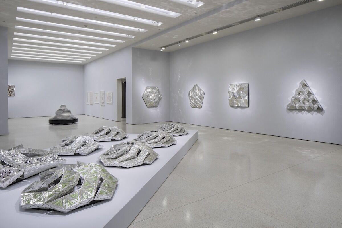 "Installation view of ""Monir Shahroudy Farmanfarmaian: Infinite Possibility. Mirror Works and Drawings 1974–2014,"" Solomon R. Guggenheim Museum, New York, March 13–June 3, 2015. Photo by David Heald. © Solomon R. Guggenheim Foundation, courtesy Haines Gallery."