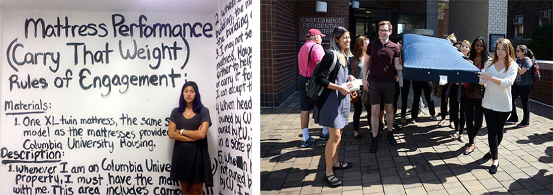 """Left:Emma Sulkowicz, """"Mattress Performance rules of engagement."""" Courtesy of Art in America. Licensed under CC BY 4.0 via Commons. Right: Emma Sulkowicz, Carry That Weight, 2014–1015. The image shows a collective carry, Carry That Weight Together. Licensed under CC BY 4.0 via Commons. Courtesy ofAllie Rickard."""