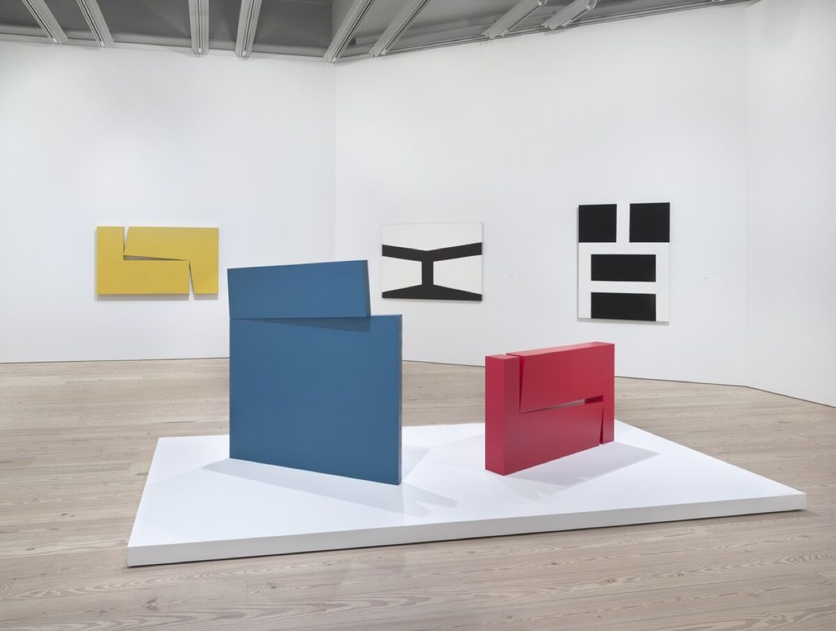 "Installation view of ""Carmen Herrera: Lines of Sight."" Courtesy of the Whitney Museum of American Art."