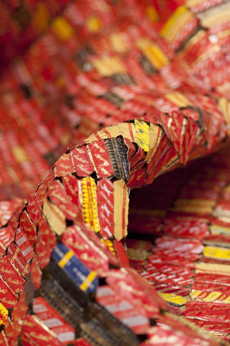 Detail of El Anatsui, AG + BA, 2014. Photo by Jonathan Greet. Image courtesy October Gallery, London.
