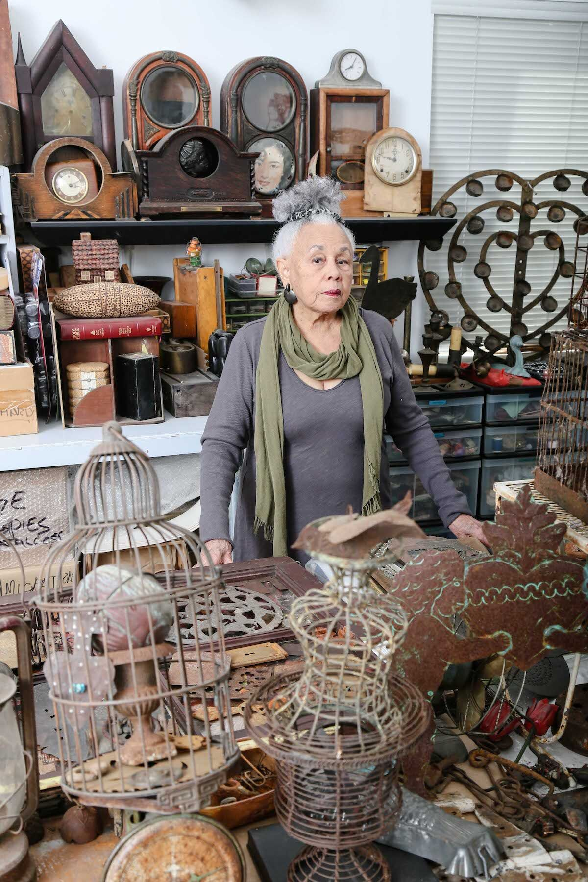 Betye Saar in her Los Angeles studio, 2015. Photo by Ashley Walker, courtesy of the artist and Roberts Projects, Los Angeles.