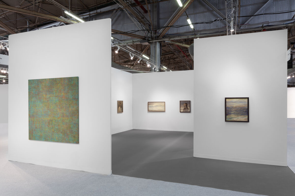 Installation view of Victoria Miro's booth at The Armory Show, New York, 2019. © Celia Paul. Courtesy of the artist and Victoria Miro, London/Venice.