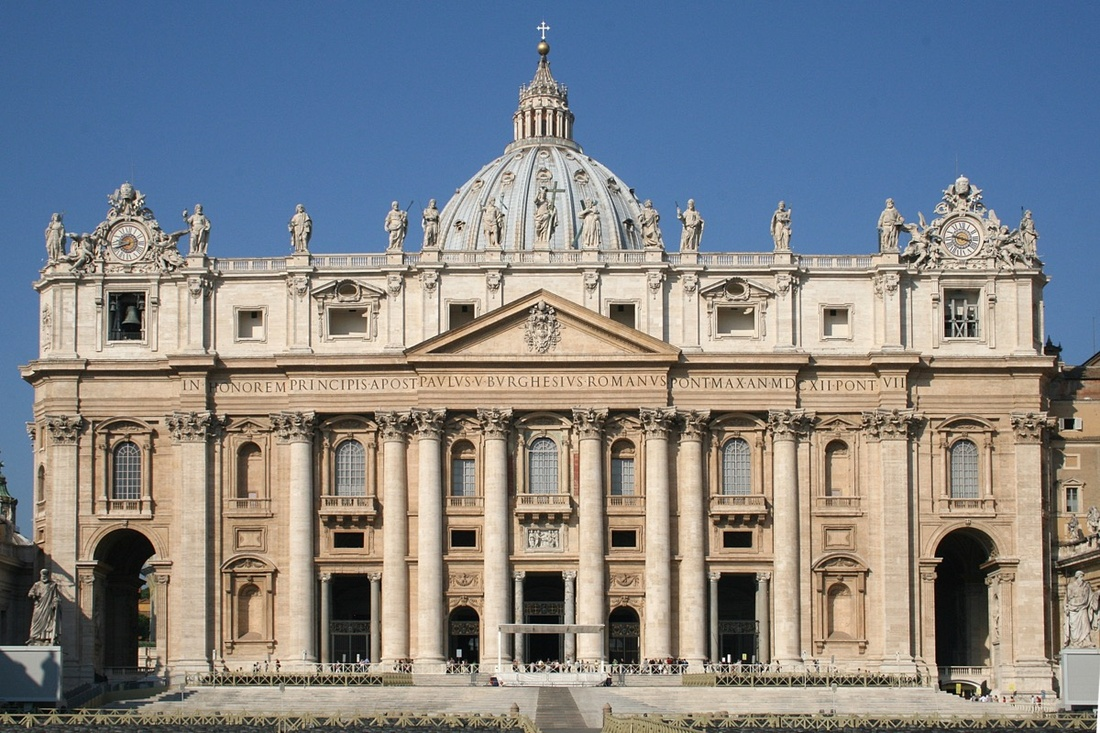 Façade of St. Peter's Basilica in Vatican City. Photo by Jean-Pol Grandmont, via Wikimedia Commons.