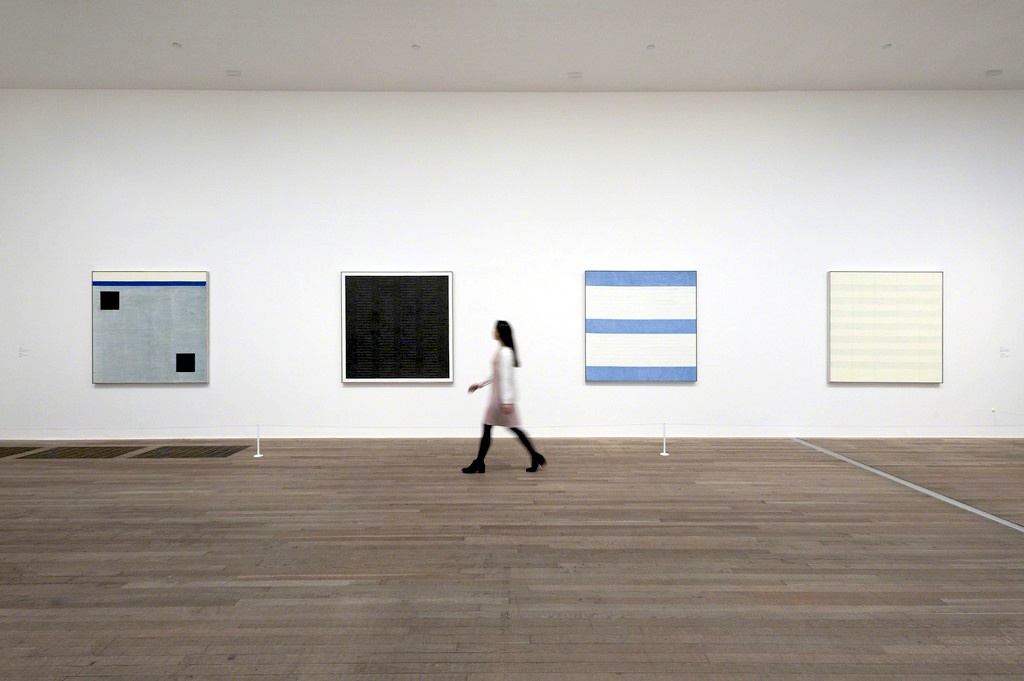 "Installation view, ""Agnes Martin"" at Tate Modern. Courtesy Tate Modern."
