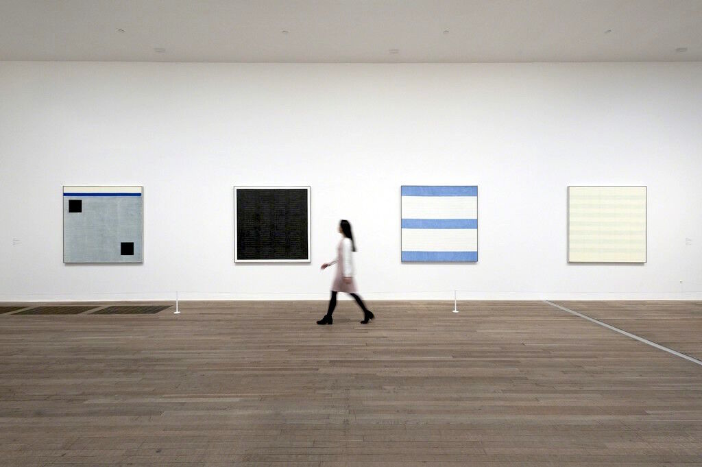 "Installation view, ""Agnes Martin"" at Tate Modern. Courtesy Tate Modern."