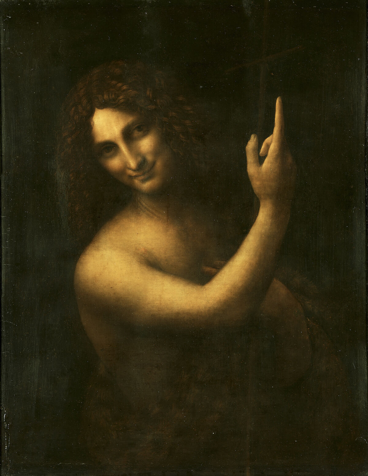 Leonardo da Vinci, Saint John the Baptist, 1513–16. Via Wikimedia Commons.