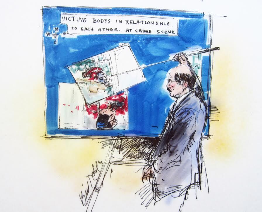Illustration of detective Tom Lang Testifying in the O. J. Simpson civil trial by Bill Robles.