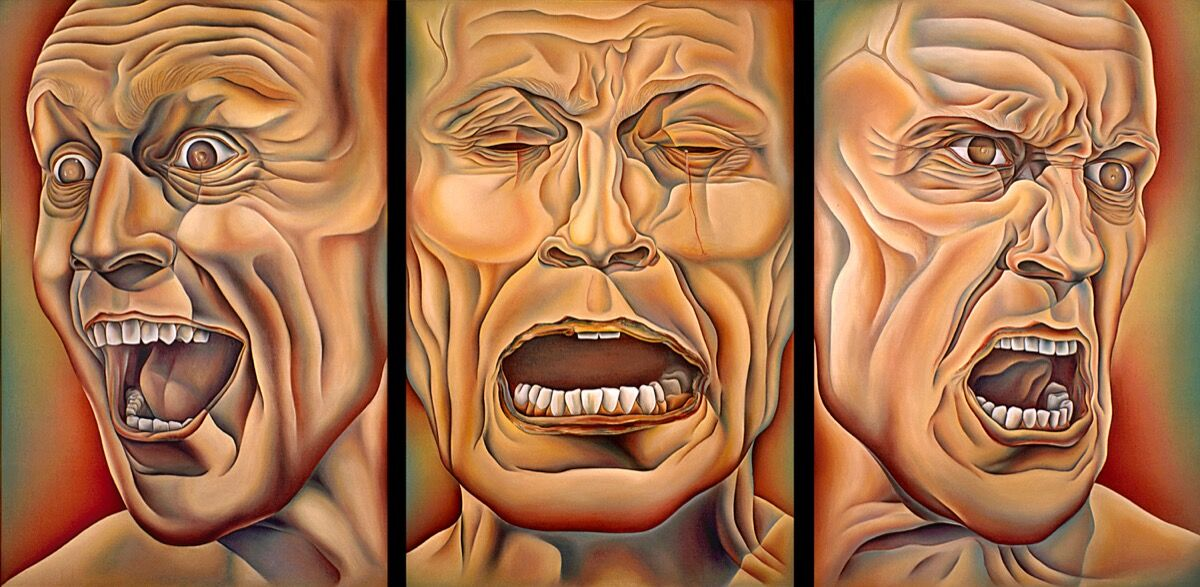 Judy Chicago, The Three Faces of Man, from PowerPlay, 1985. © Judy Chicago / Artists Rights Society (ARS), New York. Photo © Donald Woodman / Artists Rights Society (ARS), New York.